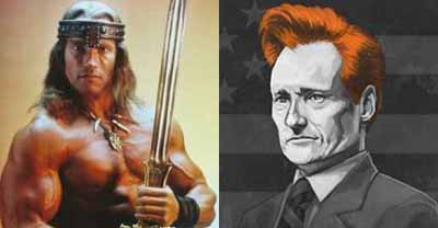 Two Conans: the Barbarian and O'Brien
