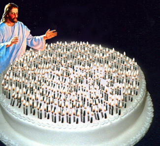 Jesus with 2,000-candle birthday cake