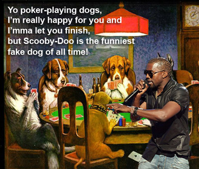 Kanye West and Dogs Playing Poker