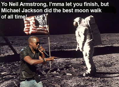 Kanye interrupts Neil Armstrong moon walk
