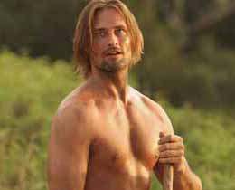 A shirtless Sawyer